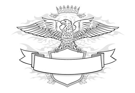 Crown and Shield and Banner with Winged Eagle Insignia