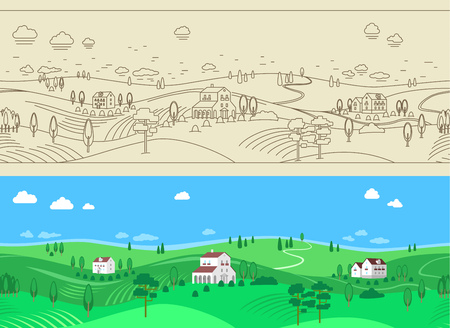 Two seamless farm  landscape - black and white, color. EPS 8 version Иллюстрация