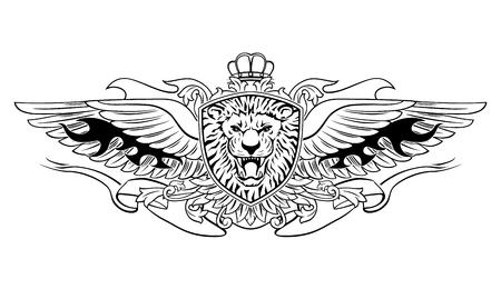 Gevleugelde brullende leeuwenkop op schildembleem Stockfoto - 103489010