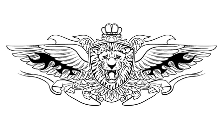 Winged Roaring Lion Head on Shield Emblem Vettoriali