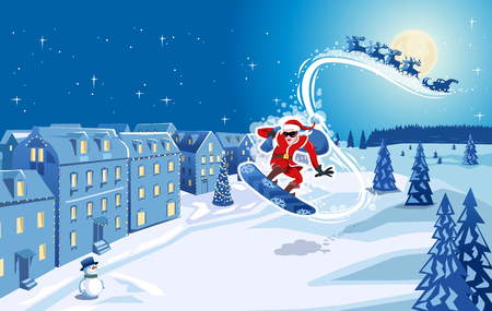 Snowboarding Santa Claus boarding in front of his sleigh and reindeer into a snow covered