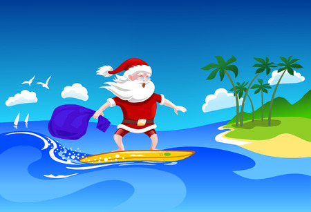 Santa Clause on Beach Vacation on Surfing Board