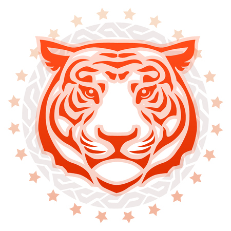 Circular tattoo illustration in red, orange, gray and peach of the  front view of a tigers head surrounded by a decorative frame and stars  on a white background