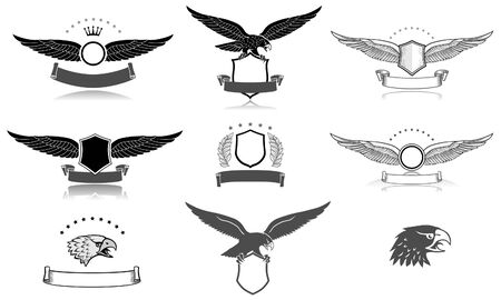 Set of black and white eagles emblems  イラスト・ベクター素材