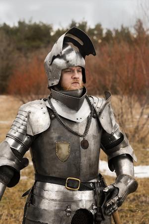 Knight before battle. Close up. Win battle