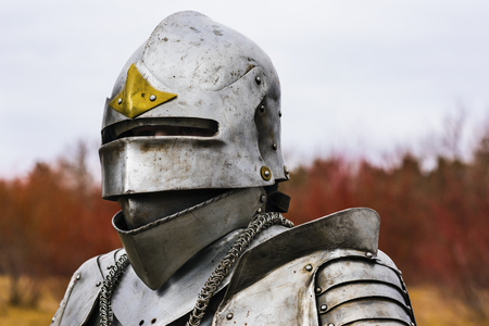 Strong knight before the battle. Close up