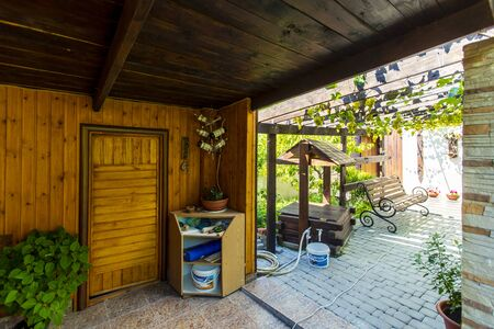 Entrance to the sauna in the back yard of the cottage