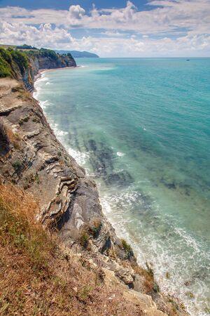 Black sea coast of the Caucasus in the region of Gelendzhik. High precipitous Rocks and the sea.