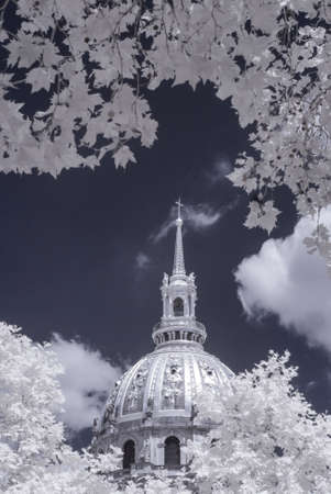 infrared: Invalides in infrared Stock Photo