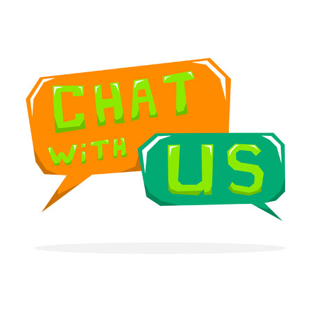 speech cloud: Vector chat with us speech cloud illustration.