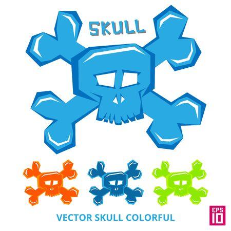 Vector skull element death head colorful illustration Illustration