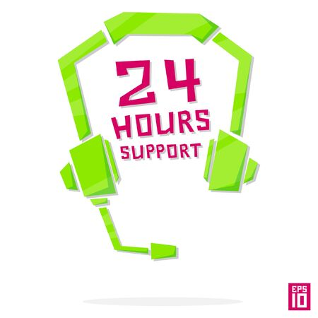 phone operator: Vector phone operator online 24 hours earphones call center element colorful