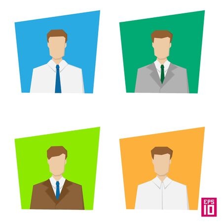 dress code: Vector colorful men rectangle avatars. Business styled persons with strict dress code.