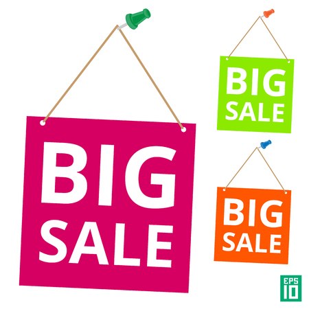 Vector colorful big sale label hanging by the pin