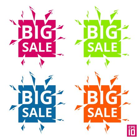Vector colorful big sale square labels with elements