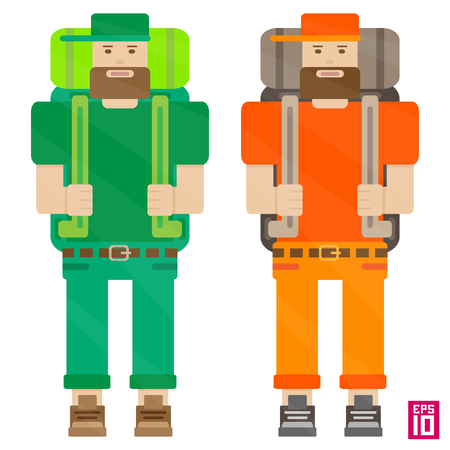 backpacks: Vector orenge and green travellers characters with backpacks and beards.