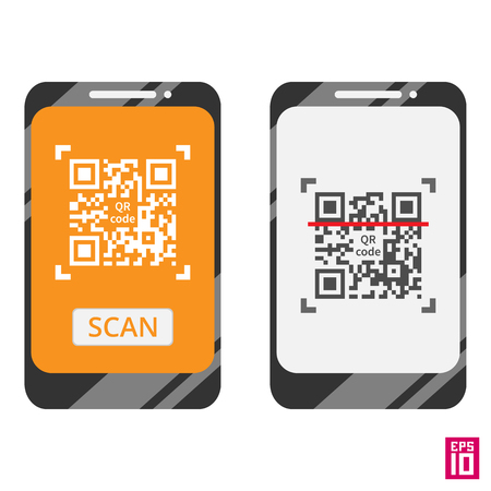 qrcode: Vector smartphone scan QR code template. Elements grouped in different layers for convenient editing.