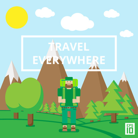 everywhere: Vector landscape flat illustrationwith words travel everywhere and a traveller.