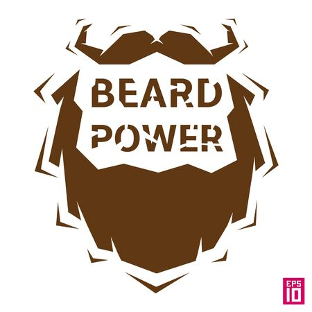 Vector trendy hipster beard and mustache illustration for printing.