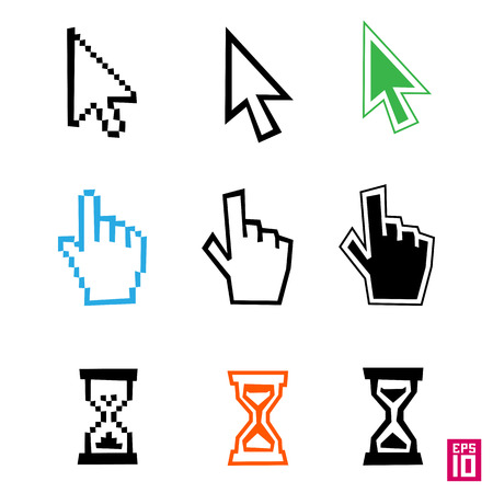 cursors: Vector cursors with irregular lines and rectangles: hand, arrow, hourglass (sand glass).