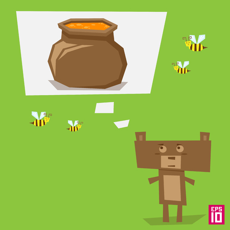honey pot: Vector square bear with honey pot and bees illustration.