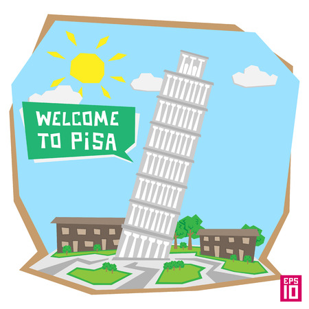 pisa tower: Vector pisa tower italy illustration.