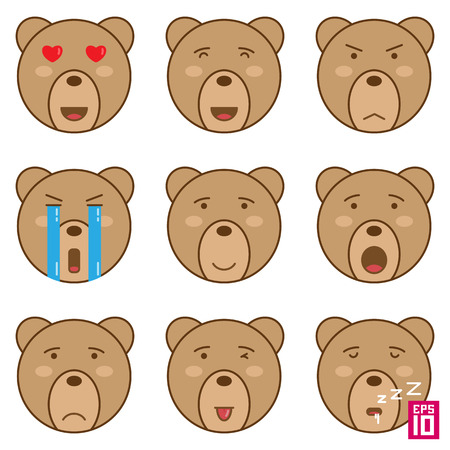 angry teddy: Vector bear smiles emotions icons.