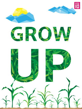 eco slogan: Vector think eco illustration with growing corn (maize), clouds, sun and slogan grow up. Illustration