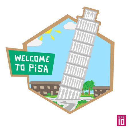 landscape architecture: Vector pisa tower label italy illustration.