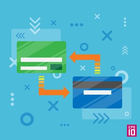 processing: Vector credit cards transfer processing with arrows.