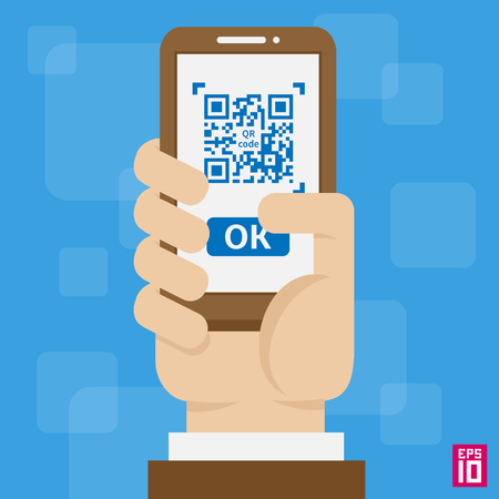 Vector hand with phone, scan QR code illustration. Ilustrace