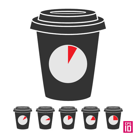 periods: Vector coffee break cup with clock icons with different time periods.
