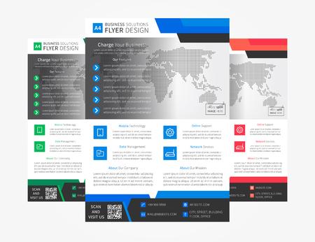 簡単なリーフレット (ポスター) テンプレートです。企業広告グラフィック デザイン。ビジネス プレゼンテーション ・創造コンセプト。