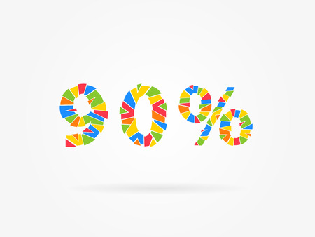 90 percent discount colorful vector illustration on grey background. 90 percent off discount creative promotion concept. Special offer isolated element for banner, coupon, label, retail marketing.