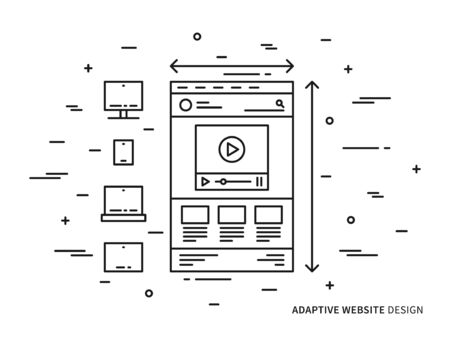 adaptive: Responsive web design vector illustration. Adaptive website, webpage technology creative concept. Responsive web interface for different devices graphic design.