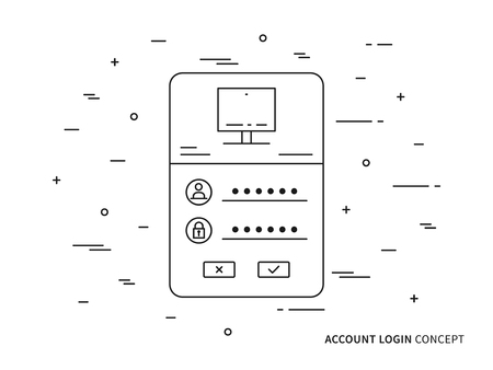 username: Login access webpage vector illustration. Sign up, log in, sign in interface technology creative concept. Registration, submit form graphic design.
