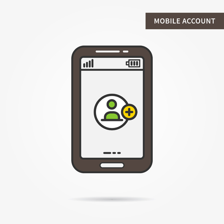 account form: Mobile account access vector linear illustration. User login app technology creative concept. Login security mobile interface log in, form, window graphic design. Illustration