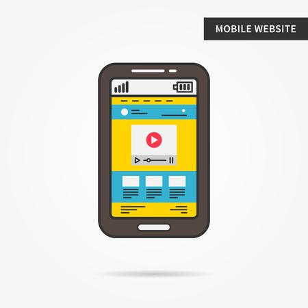 Mobiele website vector lineaire afbeelding. Webbrowser smartphone-app technologie creatief concept. Mobiele web-interface webpagina, lagen, lay-out, template, content grafisch ontwerp.