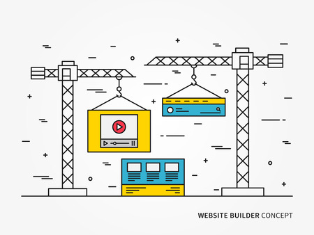 flexible business: Website development vector linear illustration. Webpage construction app technology creative concept. Web interface webpage, layers, layout, template, content graphic design.