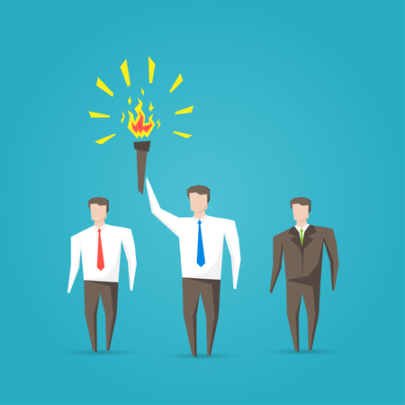 Businessman with burning torch vector illustration. Creative graphic concept.