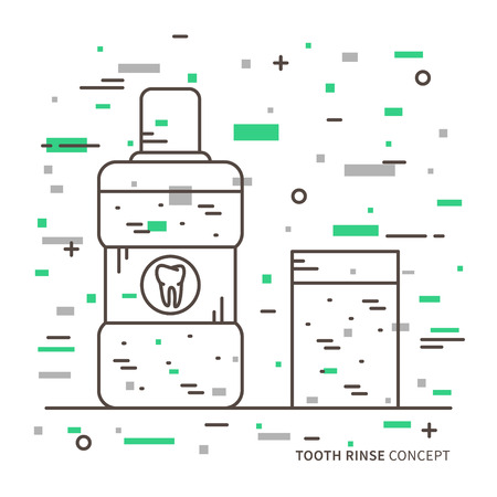 rinse: Dental tooth rinse linear vector illustration. Dental tooth care technology creative concept. Healthy tooth hygiene oral, mouth symbol. Clean tooth prevention graphic design.