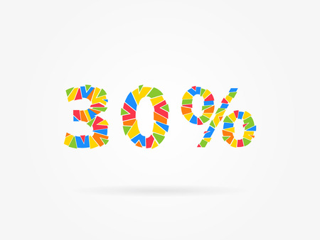 thirty percent off: 30 percent discount colorful vector illustration on grey background. 30 thirty percent off discount creative promotion concept. Special offer isolated element for banner, coupon, label, retail marketing. Illustration