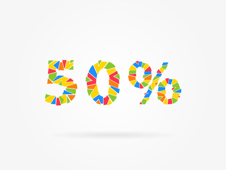 bargaining: 50 percent discount colorful vector illustration on grey background. 50 fifty percent off discount creative promotion concept. Special offer isolated element for banner, coupon, label, retail marketing.
