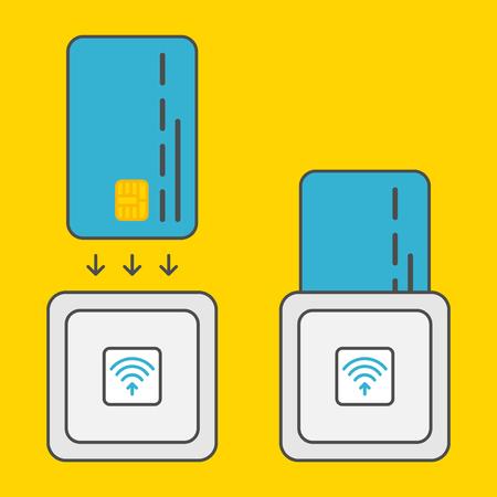 EMV-chipkaart vierkante contactloze lezer vector kleurrijke illustratie. Veilige transacties emv chipkaartlezer creatief concept. Emv-chip card betaling draadloze technologie grafisch ontwerp. EMV-reader technologie.