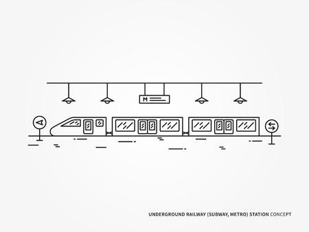 subway station: Subway, Monorail underground railway station line vector illustration.