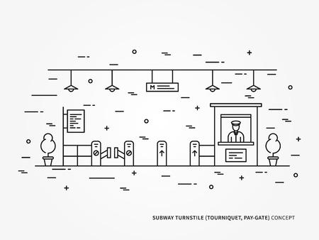 tourniquet: Subway metro, underground railway turnstile pay-gate, tourniquet linear vector illustration.