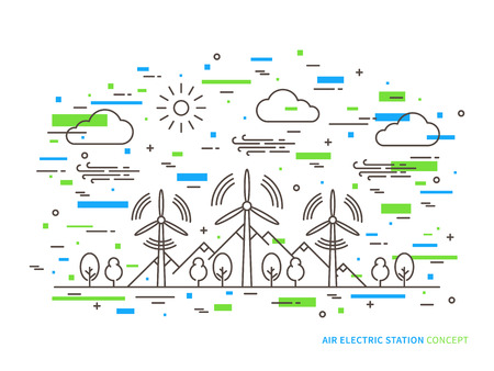 electric turbine: Linear air electric station wind energy park, wind power station vector illustration. Air energy wind-driven creative concept. Air electricity wind turbine, wind motor graphic design. Illustration