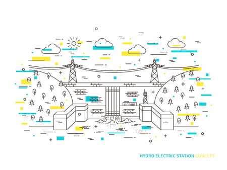 electric power station: Linear hydro electric station hydroelectric power plant vector illustration. Hydro power engineering waterpower plant creative concept. Hydro electricity hydroelectric power station, hydropower engineering graphic design.