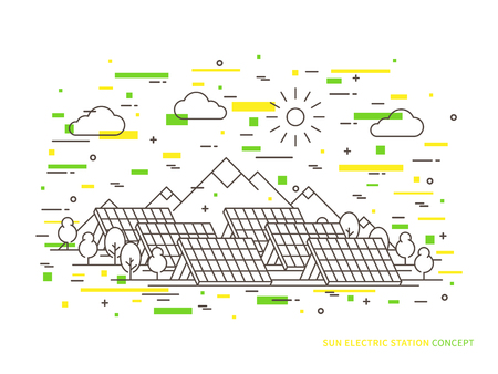 electric cell: Linear sun electric station solar energy park, solar power station vector illustration. Solar power engineering solar power plant creative concept. Solar electricity solar thermal power system, solar cell panel graphic design. Illustration
