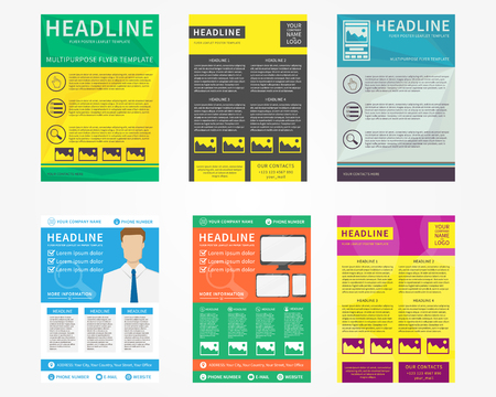 leaflets: Collection set of flyer, leaflets, poster vector templates in A4 size. Colorful concept graphic design.